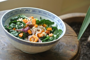 Warm Kale, Sweet Potato, & Quinoa Salad