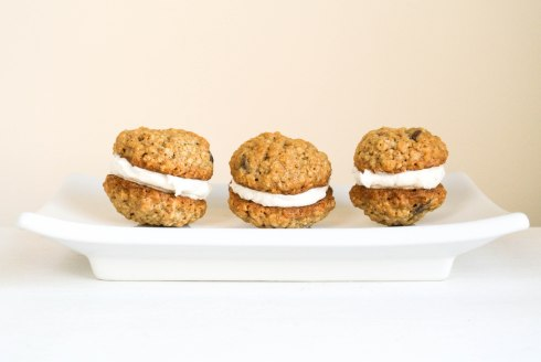 Oatmeal Chocolate Chip Sandwich Cookies with Creme Filling